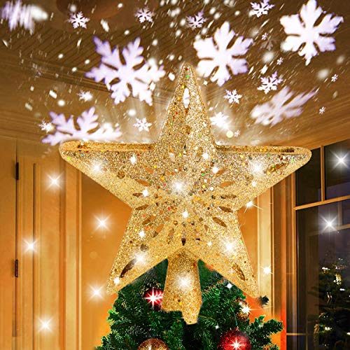 FengRise Star Christmas Tree Topper Decorations - Glittering Gold Hollow Tree Topper, Rotating 3D Projector Lamp Design Light White Snowflake for Christmas Tree Ornament Indoor Home Décor