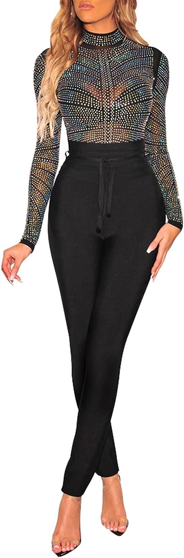 Women Sexy Long Sleeve Rhinestone Decoration Bodysuit, High Waist See-Through T-Shirts Turtleneck High Neck Top