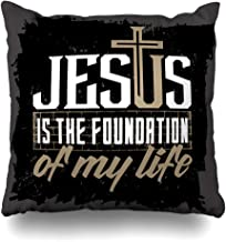 Pandarllin Throw Pillow Cover Holy Christ Bible Lettering Christian Jesus Evangelist Foundation Quote Gospel Scripture Faith Cushion Case Home Decor Design Square Size 20 x 20 Inches Pillowcase