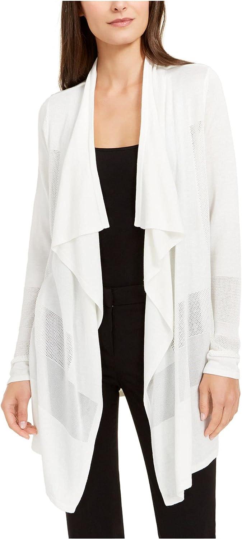 Alfani Womens Sweater Large Cardigan Draped Perforated White L