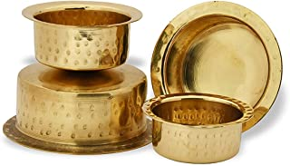 Satisfactory Nation Brass Patila Set of 4 Tope Topia Bhaguna Round Patila Capacity 1 Litre to 4 Liter Brass tope Pan & Pot