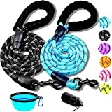 HEAVY DUTY - This 2 pack dog leashes made with strongest 1/2 inch diameter rock climbing rope and durable 360 degree rustproof swivel hook,suitable for small,medium and large dogs. FOAM HANDLES - Features soft padded handles for amazing comfortable s...
