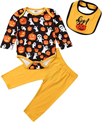 mettime Baby Infant Girl White T-Shirt Long Sleeve Romper & Floral Pants Set Matching Headband Outfits Newborn 0-18 Months (Halloween Yellow, 12-18 Months)
