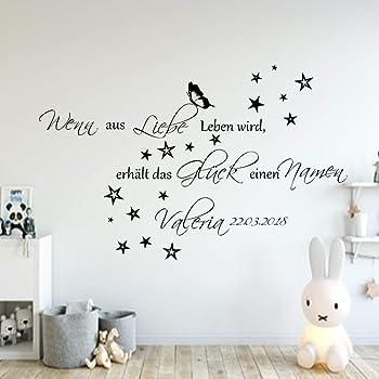Wandspruch Gluck Kann Man Datum Baby Geburt Kinderzimmer Wandtattoo Name Children S Bedroom Boy Decor Decals Stickers Vinyl Art Home Garden