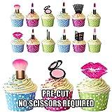 Pack de 36 decoraciones comestibles para tartas y magdalenas, con diseño de artículos de maquillaje