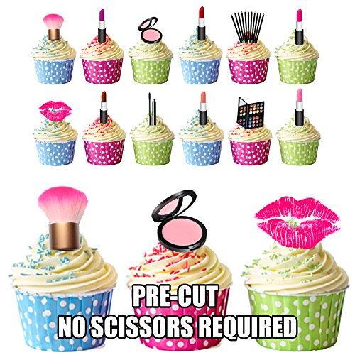 Party-Kuchendekoration, Motiv Make-up/Kosmetik, essbar, zum Aufstecken, 36 Stück