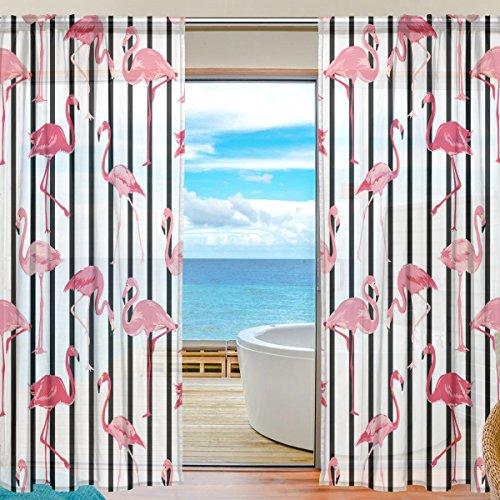 yibaihe Fenster Vorhänge, Gardinen Platten Fenster Behandlung Set Voile Drapes Tüll Vorhänge Retro Muster von gestreift Flamingo 198cm lang für Wohnzimmer Schlafzimmer Girl 's Room 2Platten