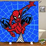 Aliyz Spiderman Accueil hôtel décoration de Salle de Bains Moule imperméable Protection de l'environnement Facile d'entretien Rideau de Douche Tissu de Polyester 71x71 Pouces