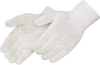 Liberty K4517Q Cotton/Polyester Regular Weight Plain Seamless Knit Glove with Elastic String Knit Wrist, Large, Natural White Small 12 Pair