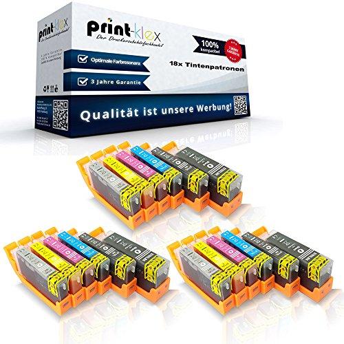 18 x compatibele XXL inktpatronen voor Canon PGI570PGBK CLI571BK CLI571C CLI571M CLI571Y CLI571GY gepigmenteerd zwart blauw rood geel grijs - Print Pro Serie