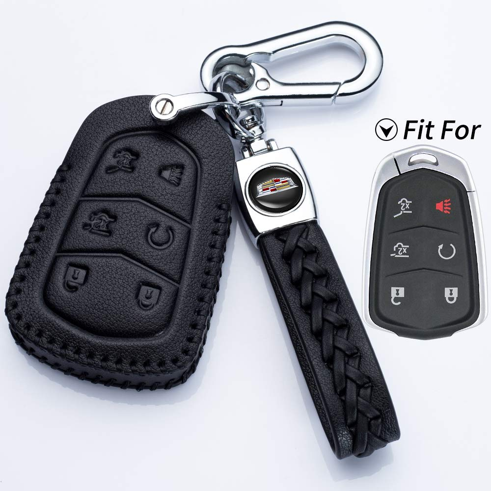 Car Key fob Cover Key case for Cadillac Genuine Leather Protector Keychain key fob cover 2015-2018 Cadillac Escalade Remote for Cadillac Escalade Key Holder only for 6 Buttons key fob cover