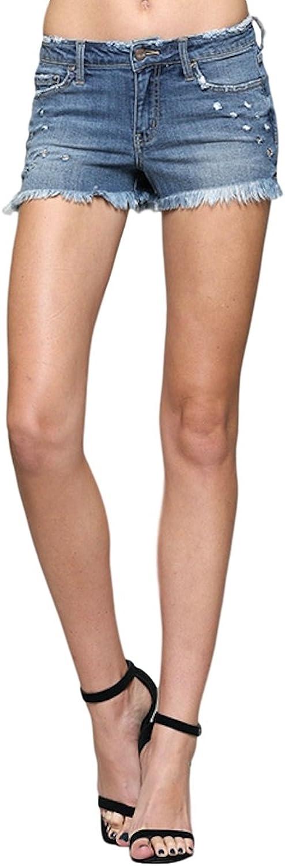 Vervet by Flying Monkey Jeans Paper Tiger Mid Rise Raw Hem Shorts Medium Wash VT157