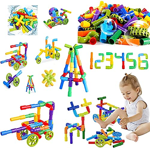 Kiddie Galaxia® Pipe Blocks Creative Tube Locks Construction Set Toy with Wheels Kids Educational Preschool Learning Toys Plastic Water Pipe Shaped Blocks – Pipe Puzzle Game ( 75 Pieces )