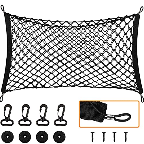 Car Rear Cargo Net Stretchable with Hooks Car Elastic Netting Carrier Trunk Storage Organizer Net for SUV Truck (35 x 16 Inch)