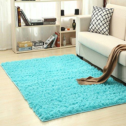 Alfombra de pelo suave y mullida, moderna, cómoda, resistente a las manchas, lavable, para sala de estar, dormitorio 80*120cm azul celeste