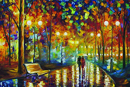 Agirlgle Jigsaw Puzzles 1000 Pieces for Adults for Kids-Rainy Night Walk,Every Piece is Made of Basswood,Softclick Technology Means Pieces Fit Together Perfectly Wood Jigsaw Puzzles