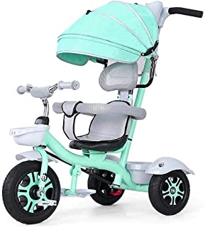 Children Tricycle Bicycle Trolley Baby Infant Bicycle Rubber Wheel with Canopy (Color : Gray) JB-Tong