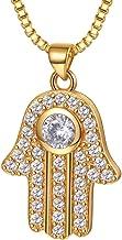 Suplight Collar Mujer Dorado Colgante de Mano de Fátima con Cadena Veneciana con Zirconía 1ct Joyas de Suerte Chapado en Platino/Oro de 18K