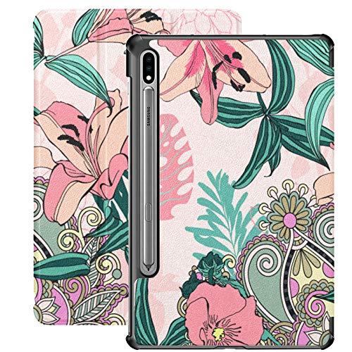 Funda Galaxy Tablet S7 Plus de 12,4 Pulgadas 2020 con Soporte para bolígrafo S, Funda Protectora Tipo Folio con Soporte Delgado y artístico de Moda Original para Samsung