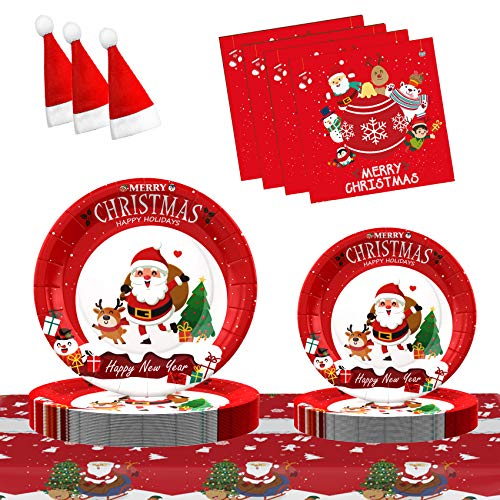 MIMITOOU Christmas Paper Plates, Christmas Party Supplies, Christmas Decorations 7 Inch 9 Inch Party Plates and Napkins, Serve 30 Guests Disposable Dinnerware Sets for Christmas Party - 121 PCS