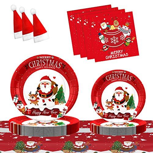 Gimsan Weihnachtsessen Eingestellt Weihnachtsfeier Zubehör Weihnachtsfeier Teller Geschirr Set für 30 Gäste, Weihnachts-Pappteller und Servietten Santa Claus Series 121 PCS