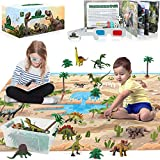 3D Dinosaur Toys Playset - 3D Dinosaur Book and Double-Sided XL Activity Play Mat with Realistic Dinosaur Figures and Trees Including T-Rex. Perfect Educational Gift for Kids, 3,4,5,6,7 Boys & Girls