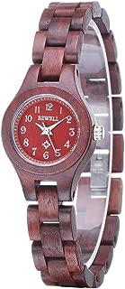 Wood Watch Women Analog Quartz Handmade Lightweight Dress Wristwatches with Small Dial