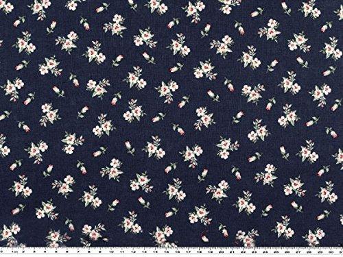 ab 1m: Baumwoll-Druck, kleine Blumen, nachtblau, 140cm breit
