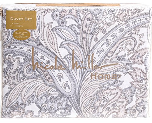 Nicole Miller 3 Piece Duvet Cover Set Paisley Medallion Floral Taupe Gray White Damask Jacobean Cotton Full/Queen