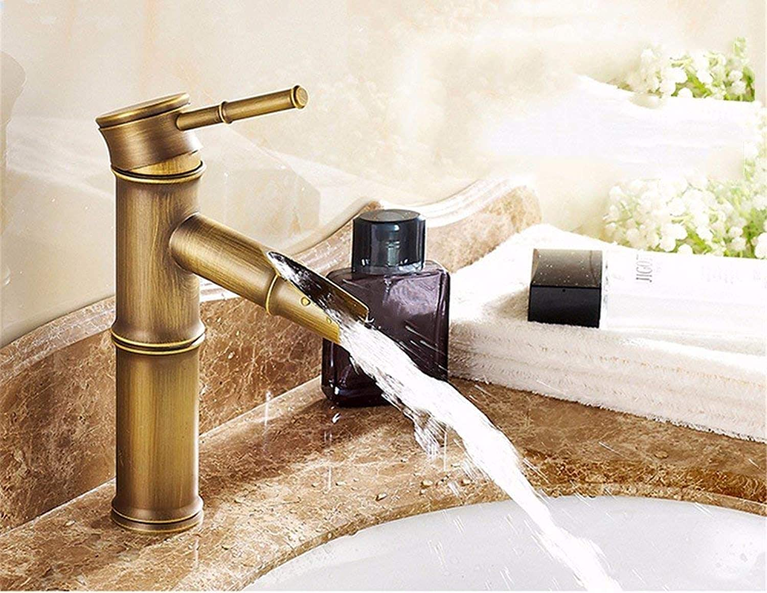 Oudan Basin Mixer Tap Bathroom Sink Faucet The inter-continental basin full copper antique and cold water tap washbasin bench pots antique bamboo water faucet