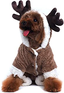 Lifeunion Christmas Reindeer Dog Costume Winter Fleece Elk Pet Dog Hoddie Onesies Pajamas Clothes Jumpsuit