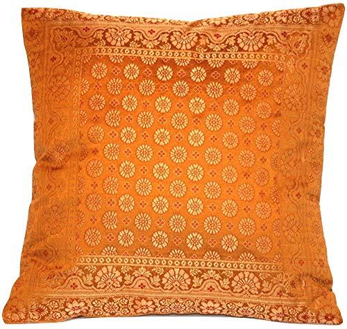 Kashmir Handicrafts Indische Seide Deko Kissenbezüge - 40 cm x 40 cm, Extravaganten Design für Sofa & Bett Dekokissen, Kissenhülle aus Indien.