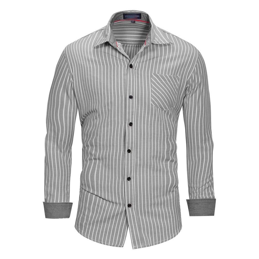 Camisas para hombre Camisa de vestir a rayas para hombre, camisa de manga larga de algodón,