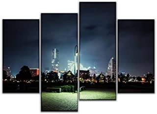 4 Panel Canvas Pictures lonely lantern future citys and pictures Home Decor Gifts Canvas Wall Art for your Living Room