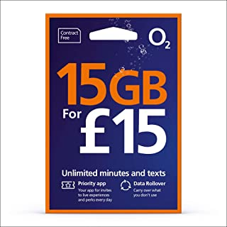 UK - Europe O2 PrePaid SIM Card, 6GB Data, 1000 Minutes, 5000 Texts Valid for 30 Days. Use in All EU Countries