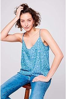 Blusa de Alça Jeans Animal Print
