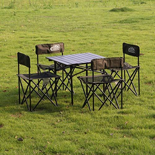 Silla plegable para exteriores, camping, playa, festival con bolsa, ligera portátil + descanso para el almuerzo al aire libre + reclinable fiable, soporta hasta 120 kg. moderno Size marrón