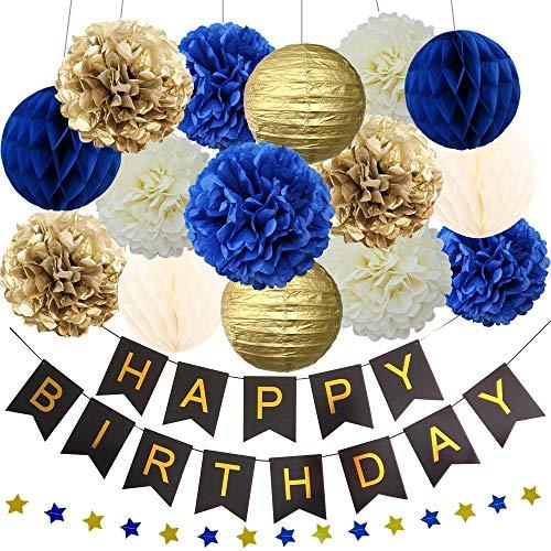 InBy Navy Blue Gold Birthday Baby Boy Shower Party Decoration Kit - Happy Birthday Banner, 12' 10' 8' Tissue Paper Pom Pom, Lantern, Honeycomb Ball, Star Garland