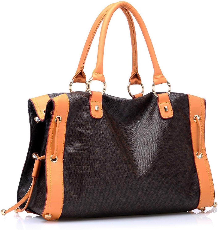 VM Fashion Kiss Ladies Tote Soft Fauxfur Printed Pattern Hobo Shoulder Handbag color Splicing