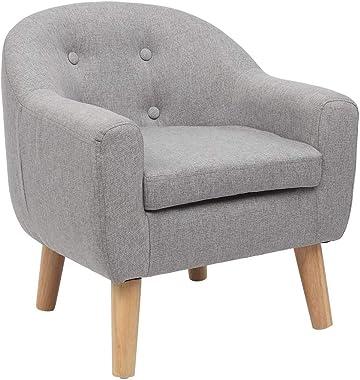 JOYMOR Kids Chair Sofa, Linen Fabric Upholstered Children Sofa, Toddler Furniture Armrest Couch for Preschool Children (Grey)
