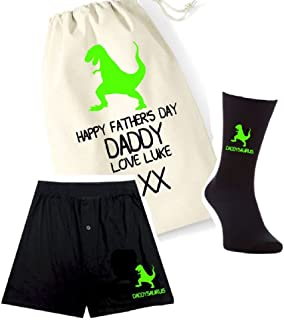 pretty little customs Printed Mens Boxers, Socks and Bag Set - Daddysaurus Dino Dinosaur - Father's Day Personalised Bag G...