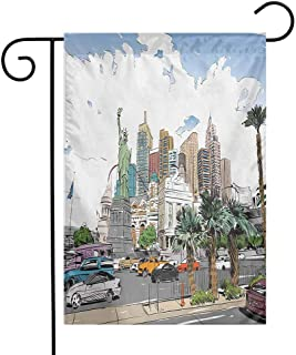 Mannwarehouse USA Garden Flag Hand Drawn Las Vegas City Nevada Street Sketch Buildings Statue of Liberty Cars Palms Decorative Flags for Garden Yard Lawn W12 x L18 Multicolor