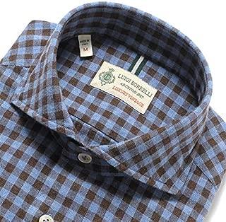 ルイジボレッリ ルイジボレリ LUIGI BORRELLI / 19-20AW!製品洗いコットンヘリンボーンフランネルシェパードチェックホリゾンタルカラーシャツ「NA35(8557)」 (クラウドブルー×ブラウン) メンズ