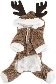 Budd 宠物狗衣服冬季小狗驯鹿服装外衣 狗狗连帽外套 带帽子 厚绒毛连身衣 适合中小型犬 万圣节圣诞节假日服装 棕色 M