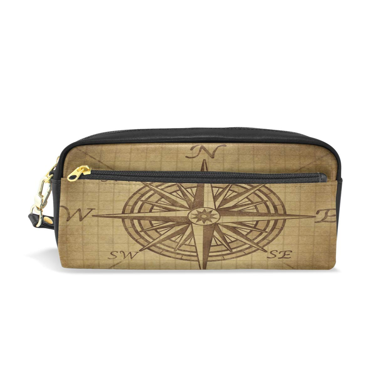 Toprint PU Leather Zipper Pencil Bag, Vintage World Nautical Compass Pen Pencil Case Pouch Makeup Cosmetic Bag for Women Man Work Office