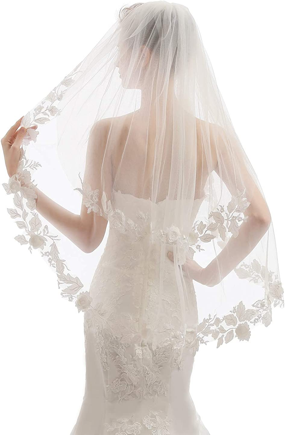 Elawbty Womens 2 Tier Fingertip Length Short Lace Wedding Bridal Veil With Comb X07