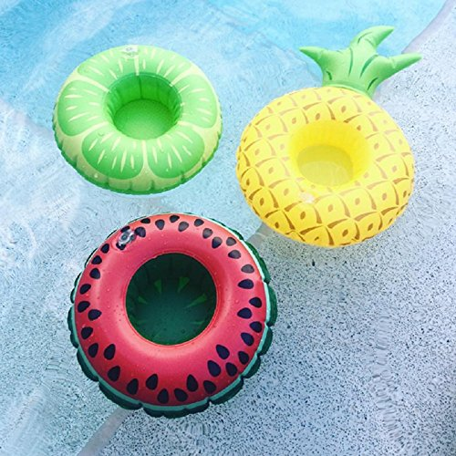 3pcs Inflatable Drinks Holder Donuts Fruit Inflatable Cup Holders Pool Float For Swimming Pool Party Water Fun