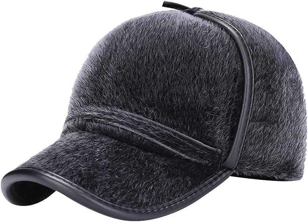 eYourlife2012 Mens Fake Mink Fur Fleeced Winter Skiing Baseball Cap Hat with Ear Neck Warmers