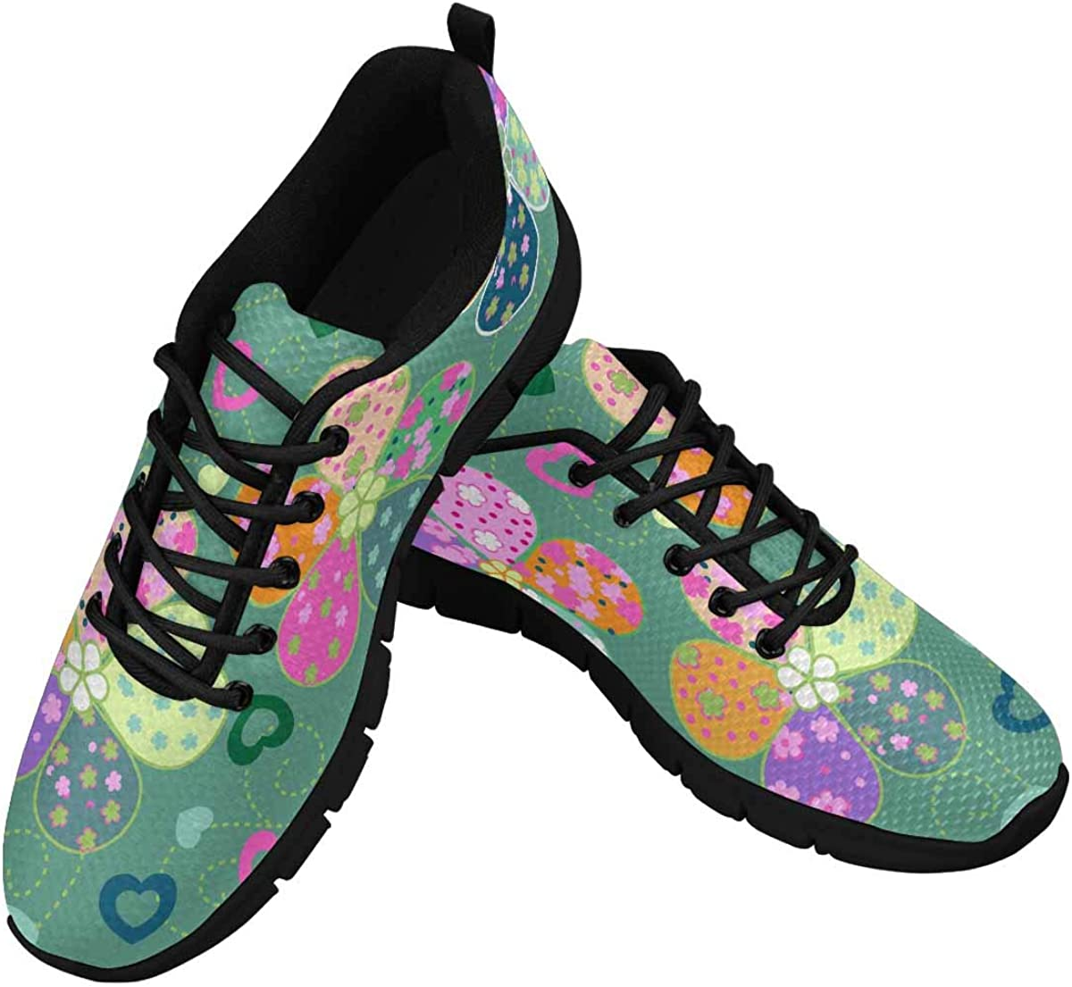 INTERESTPRINT Colorful Flowers Background Women's Running Shoes Mesh Breathable Sports Casual Shoes