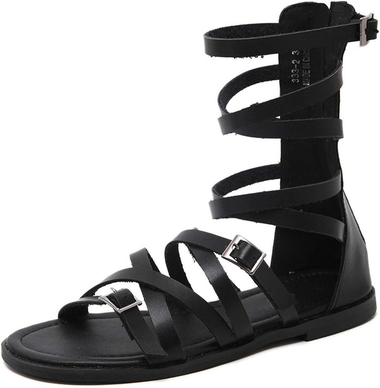White Perilla Women Gladiator Sandals Summer Rome Gladiator Flat Sandals Roman Casual Boots Femme